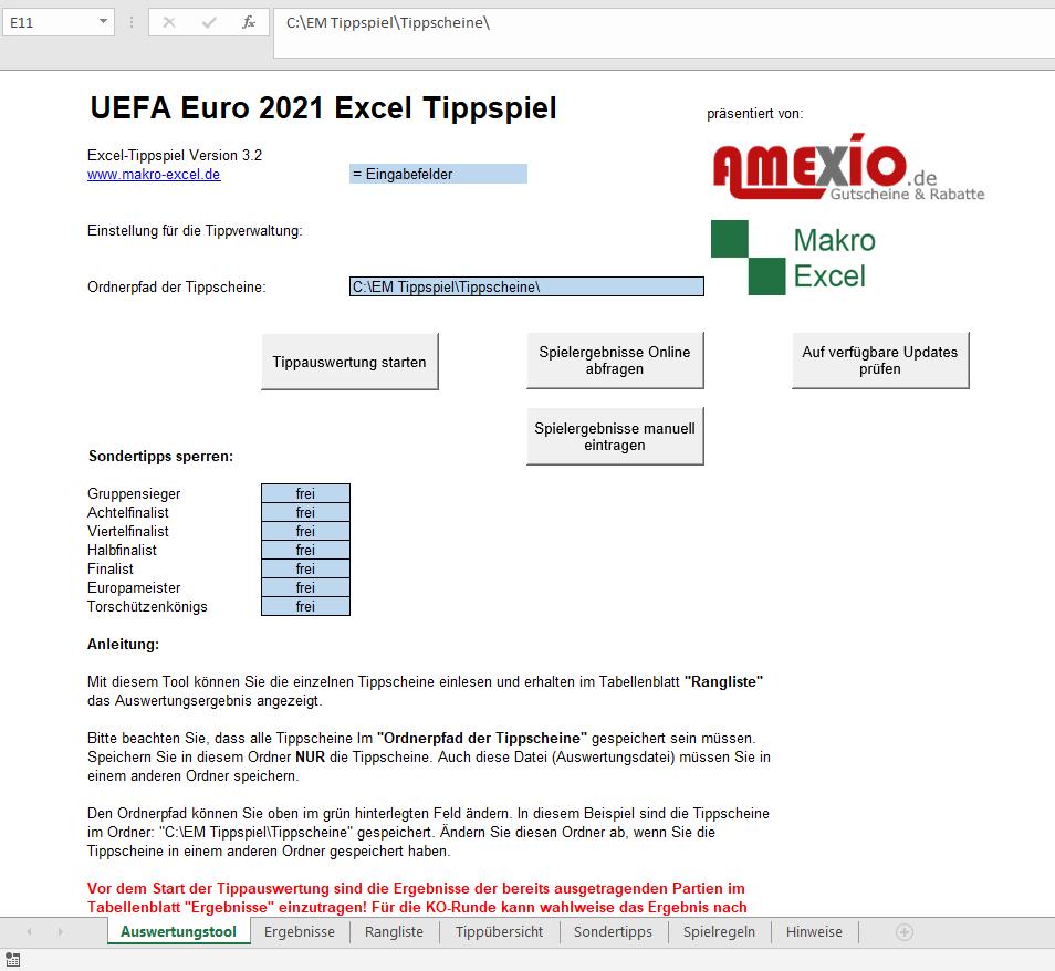 Excel Auswertungstool EM 2021
